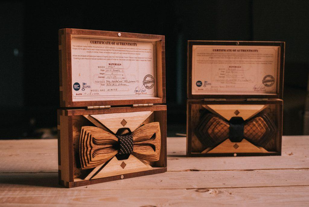 Handcrafted wooden bow ties